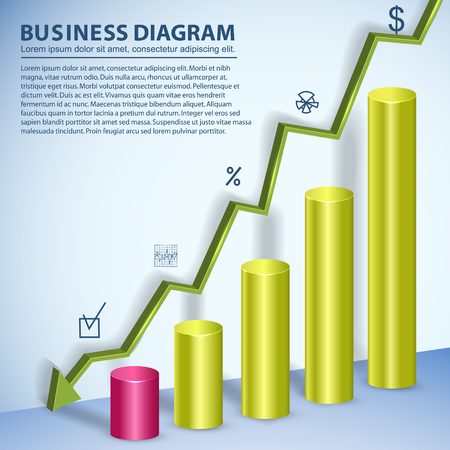 Colorful business diagram template with text fields showing decline