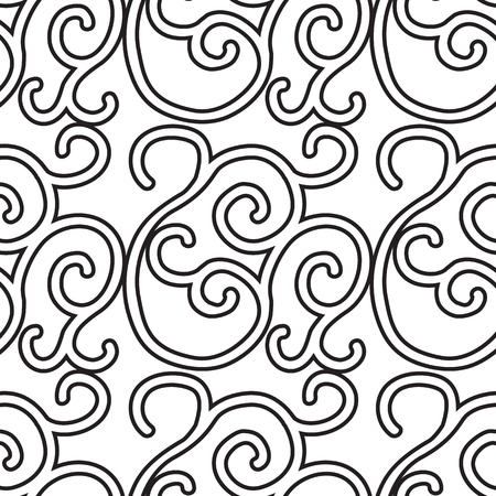 Minimalist seamless pattern with repeating ornate traceries in monochrome style vector illustration Illustration