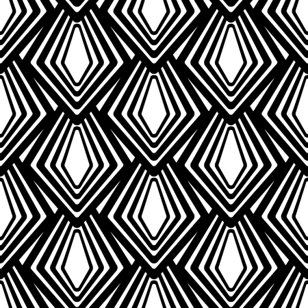 Minimalist monochrome seamless pattern with abstract geometric shapes