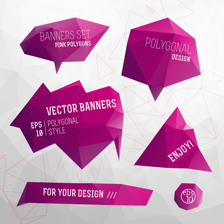 Set of pink isolated design elements for label and header in form of polygonal geometric figures flat vector illustration Illustration