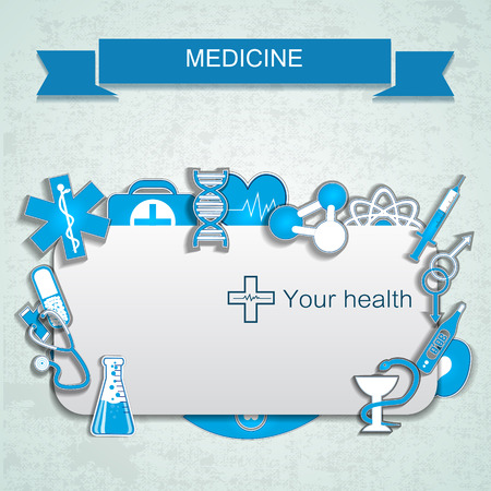 Blue textured medicine background with text field and medical and chemical instruments and symbols flat vector illustration