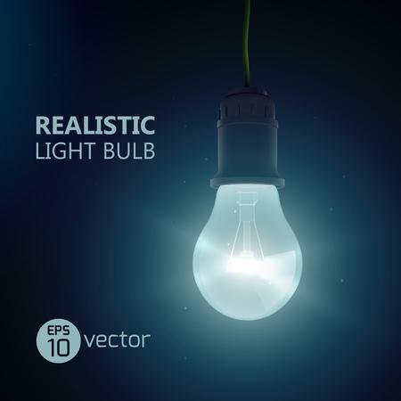 Fond carré avec une lampe d'extrémité de lentille luminante réaliste suspendue à du fil brillant dans une pièce sombre avec illustration vectorielle de titre editabe