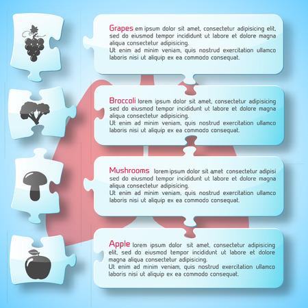 バナーテキストと健康的な食品アイコンを持つ適切な栄養インフォグラフィック