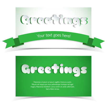 Two green and white greeting cards in paper style with ribbon and place for text flat vector illustration