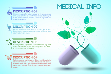 Medicine and treatment information poster with prescription and healthcare symbols realistic vector illustration Stock Vector - 97133660