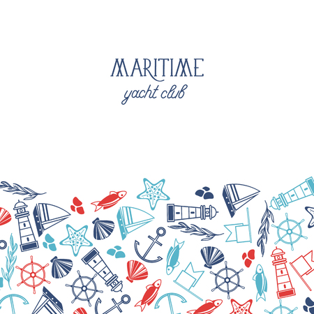 Colorful Maritime club poster vector illustration