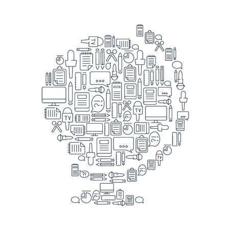 Correspondent equipment concept with journalistic lined icons in globe shape on white background isolated vector illustration