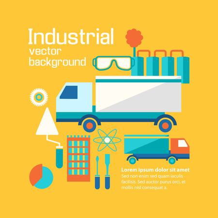 Working industrial process concept flat with different tools, motor trucks and manufacturing equipment in the factory vector illustration.