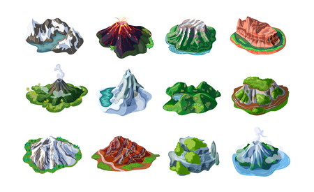 Nature mountain landscapes set