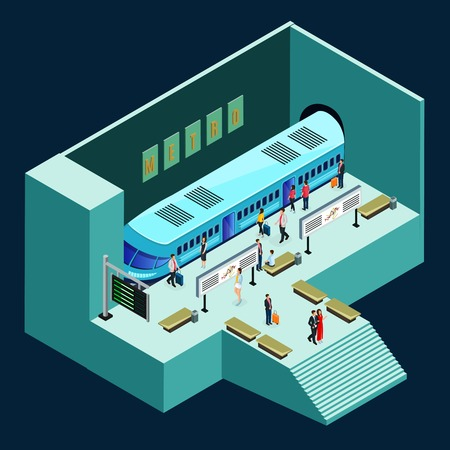 Isometric subway station concept with modern comfortable train and passengers on platform isolated vector illustration