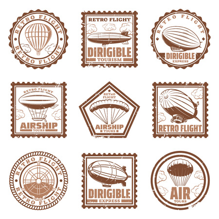 Vintage airship stamps set with blimps or zeppelins hot air balloons propeller isolated vector illustration Illustration