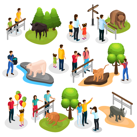 Isometric zoo elements collection with different animals families children and zookeepers isolated vector illustration