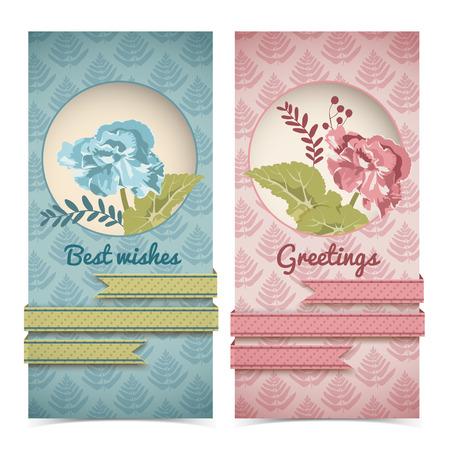 Bannières verticales vintage bannières dans des couleurs rouges et turquoise avec des rubans de fleurs sur le motif épanouir illustration vectorielle Banque d'images - 97227816