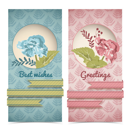 Vintage greeting vertical banners in blue red colors with flowers ribbons on flourish pattern vector illustration Illustration