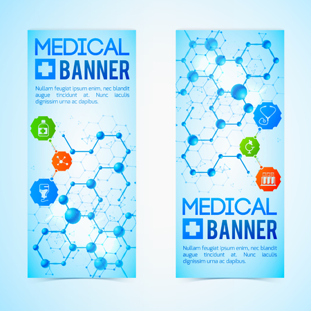 Medicine and aid vertical banners set with healthcare symbols realistic isolated vector illustration Illustration