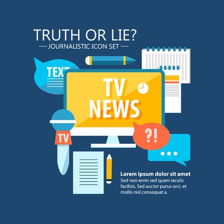 Colorful mass media infographics with reporter and journalistic elements in flat style on blue background vector illustration