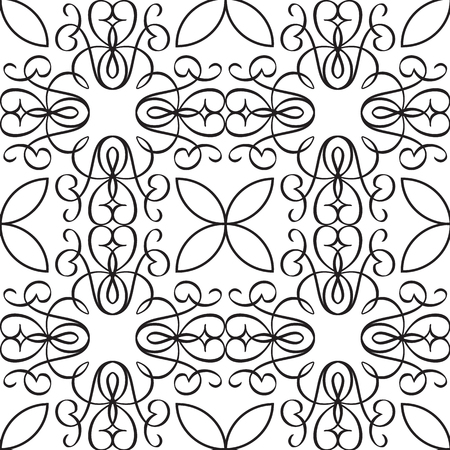 Abstract minimalistic seamless pattern with ornate and geometric shapes of repeating structure in monochrome style vector illustration Stock Vector - 97227850