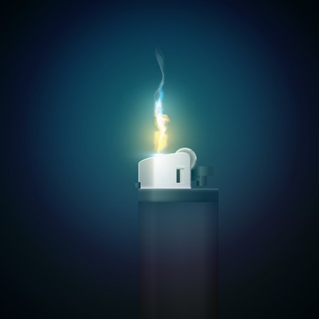 Realistic gas lighter template with burning flame on dark background, isolated vector illustration.