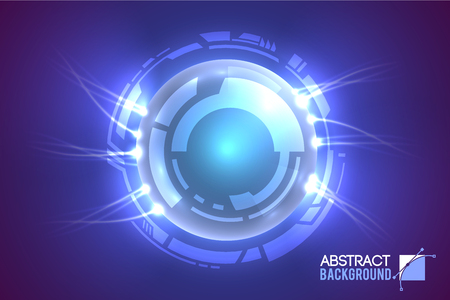Modern virtual interface abstract background with luminescent eye surrounded by futuristic circles with shining energy  vector illustration