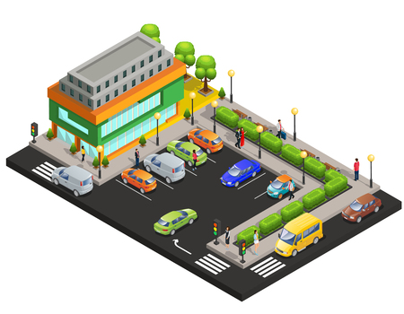 Shopping center concept with cars on parking Иллюстрация