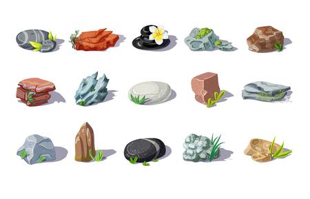異なる形状と材料のカラフルな石セット