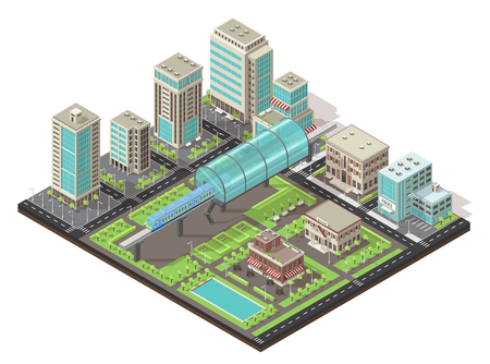 Isometric cityscape concept with metro in center public and living buildings trees road