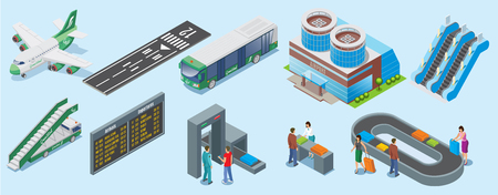 Isometric airport elements set with airplane runway bus building escalator ladder truck departure board security checks luggage conveyor belt isolated vector illustration