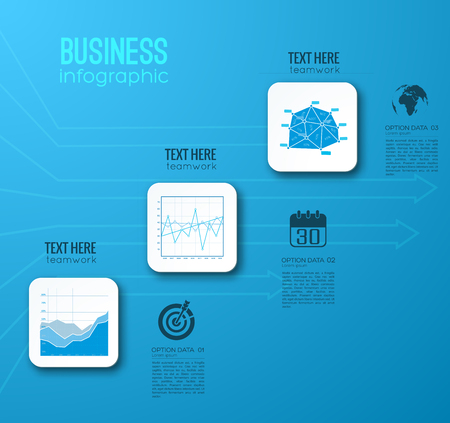 Web business step infographic template with three rounded squares text icons on blue background vector illustration