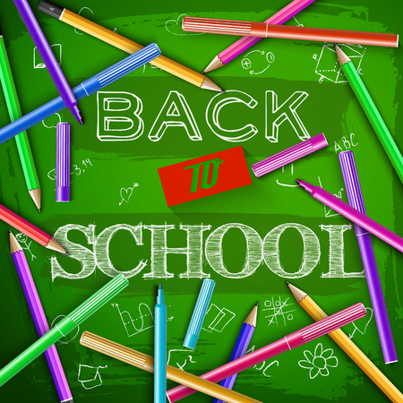 Felt pens and colorful pencils around hand drawn lettering back to school at green chalkboard vector illustration Çizim