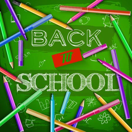 Felt pens and colorful pencils around hand drawn lettering back to school at green chalkboard vector illustration Illusztráció