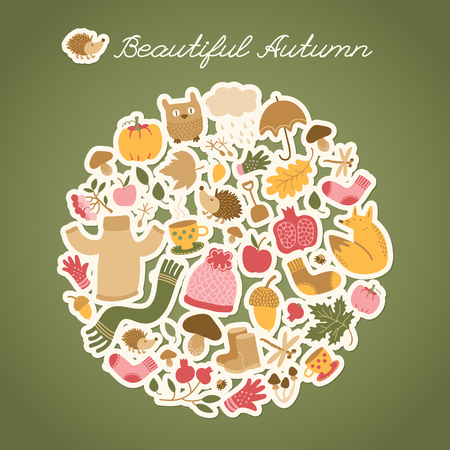 Autumn background with doodle style round composition of small cartoon images of autumn foliage food animals clothes vector illustration Illustration