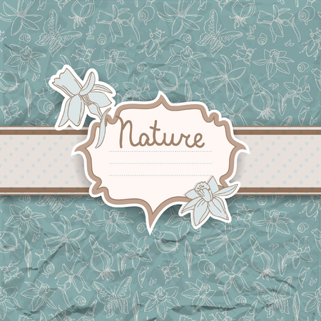 Light colored nature background with flowers and dotted ribbon on flowers placer vector illustration Ilustração