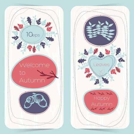 Vertical hand drawn banners with autumn compositions from acorns and foliage on white background isolated vector illustration