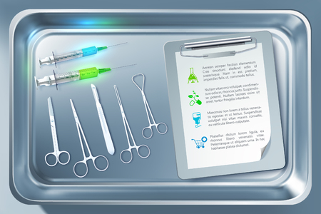 Medical tools concept with syringes forceps scalpel scissors clipboard in sterilizer isolated vector illustration Illustration