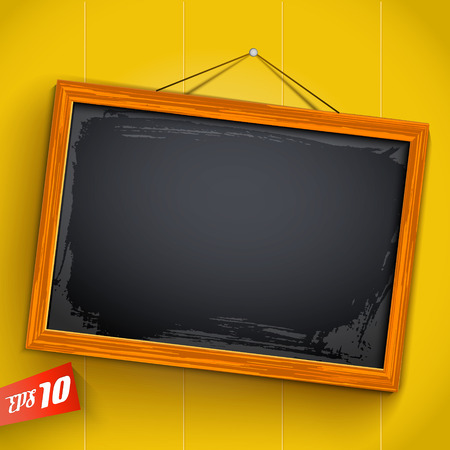 Empty inclined chalkboard hanging on rope with wooden frame on yellow background with vertical planks vector illustration Illustration