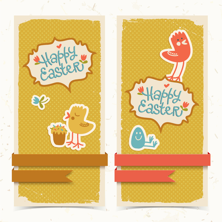 Vertical textured happy easter banners with colorful funny chickens eggs flowers and ribbons doodle isolated vector illustration