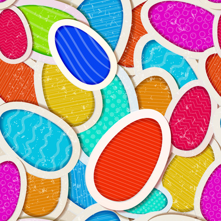 Bright abstract seamless pattern composed from multicolored easter eggs flat shadow vector illustration
