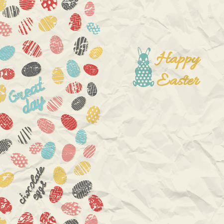 White creased paper background with small textured colorful eggs and rabbit flat vector illustration Ilustrace