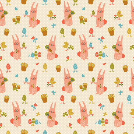 Colorful happy easter seamless pattern with cute pink rabbits flowers chickens and eggs on textured background doodle vector illustration