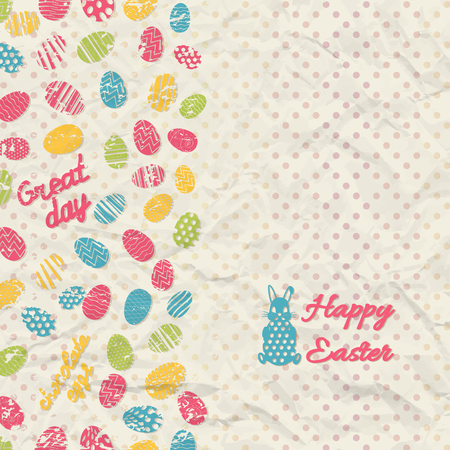 Creased paper polka dot happy easter background with multicolored eggs and small rabbit flat vector illustration