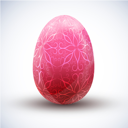 Happy easter pink egg with beautiful ornament icon on light background realistic vector illustration
