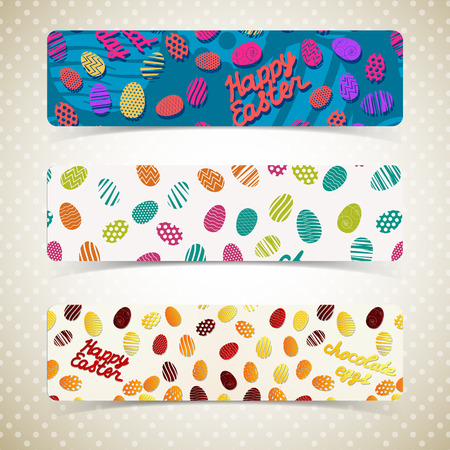 Horizontal colorful easter eggs banners set isolated on light grey patterned polka dot background flat vector illustration