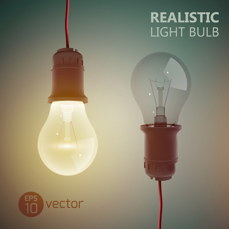 Creative square background with two light bulbs turned on and off hanging on wires on gradient background vector illustration