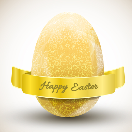Big golden ornamental happy easter egg with ribbon realistic vector illustration Çizim