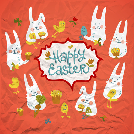 Happy easter rabbits with chickens flowers carrots and eggs on red crumpled paper background doodle vector illustration Illustration