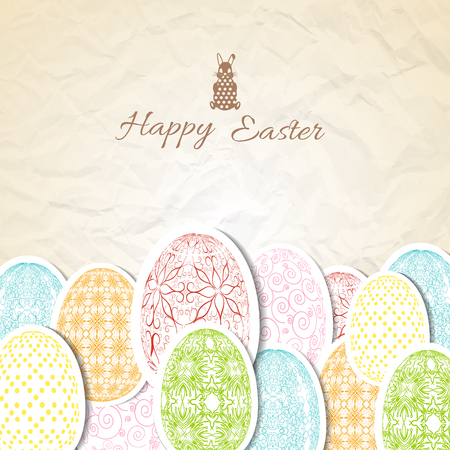 Creased paper background with small rabbit and happy easter patterned eggs in pastel colors flat vector illustration