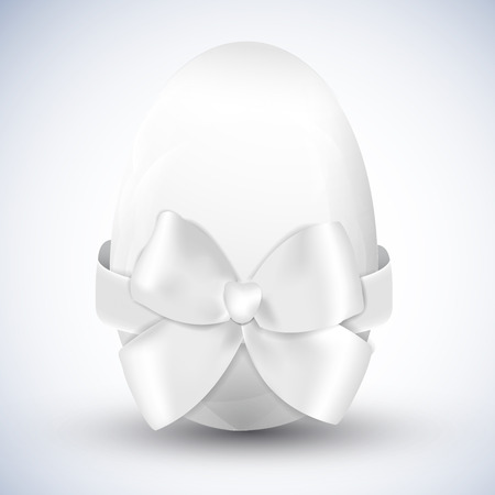 White happy easter egg with big ribbon bow isolated realistic vector illustration Illustration