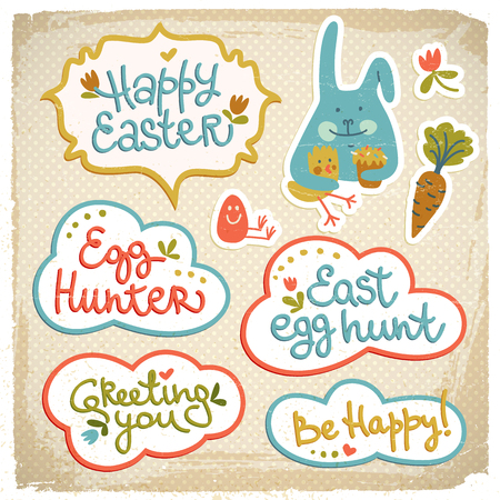 Happy easter cutout doodle decorative elements on fabric background with funny bunny and be happy greeting vector illustration Illustration