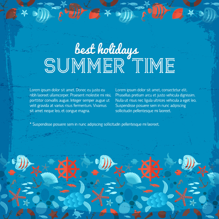 Blue background with text about best holidays in summer time and residents of underwater world decorative symbols flat vector Illustration
