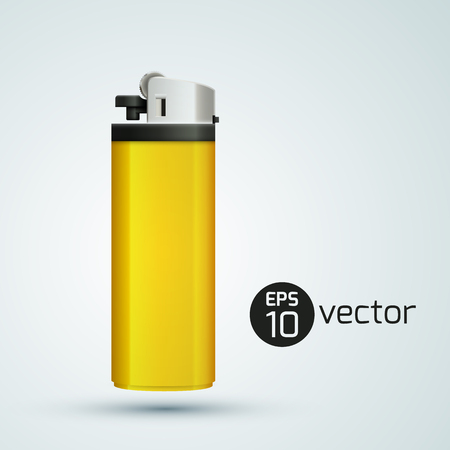 Realistic yellow gas lighter design template background vector illustration